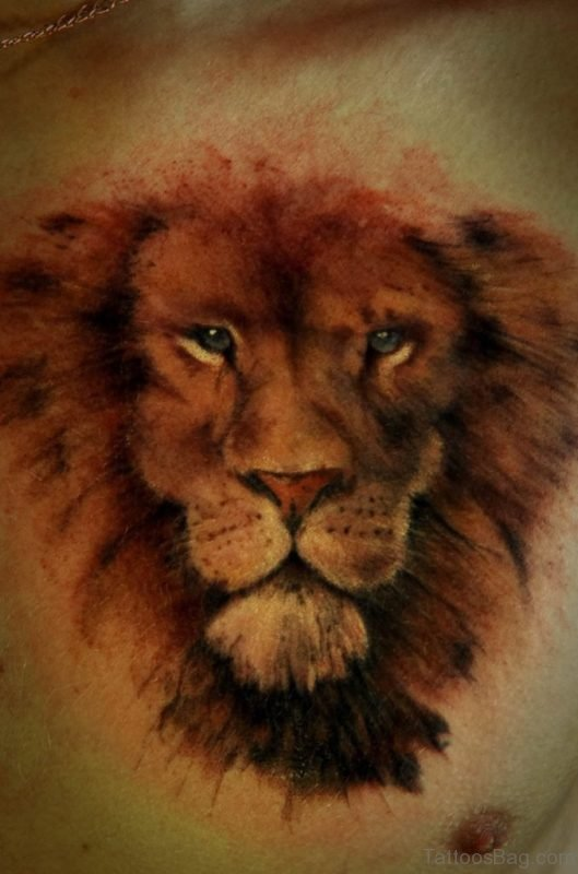 Realistic Lion Tattoo On Chest