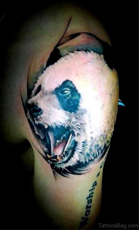 Realistic Panda Shoulder Tattoo