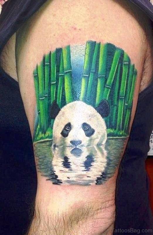Realistic Panda Tattoo On Shoulder