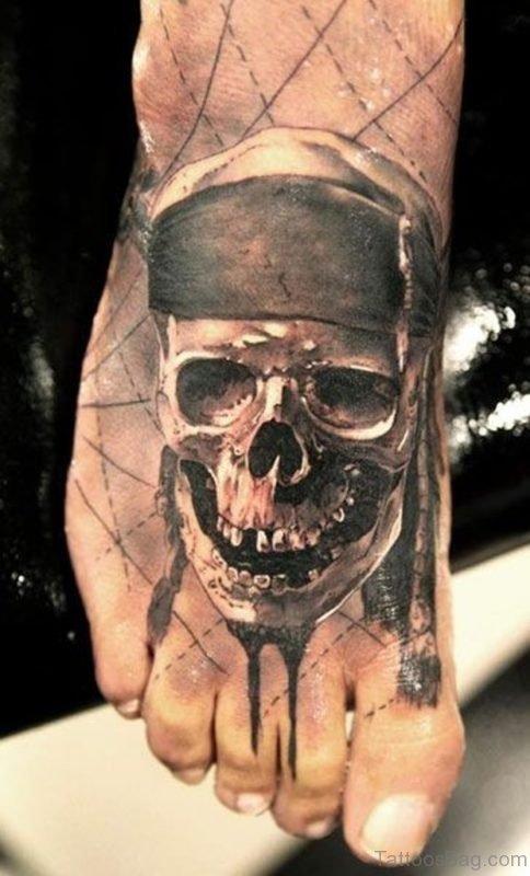 Realistic Pirate Skull Tattoo On Foot