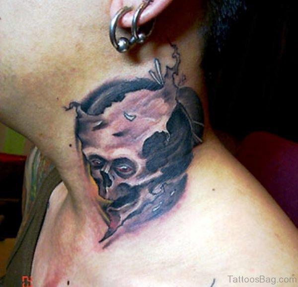 Realistic Skull Neck Tattoo