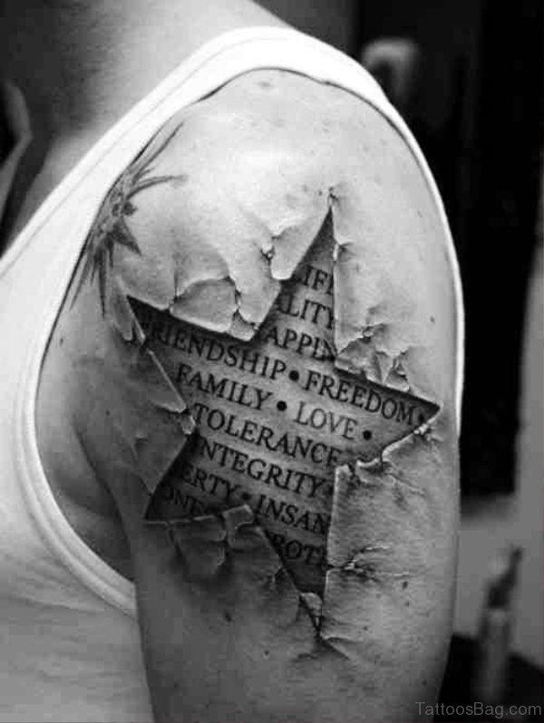 Realistic Star Shoulder Tattoo Design
