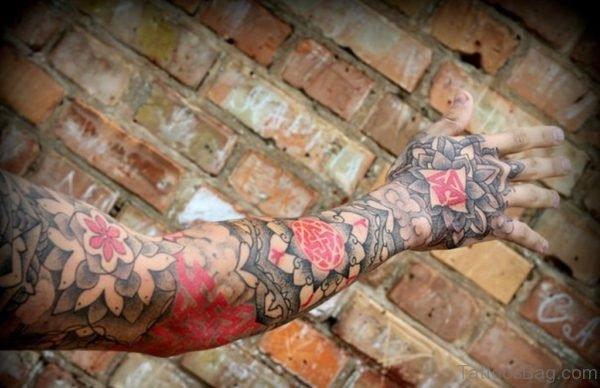 Red And Black Ink Mandala Tattoo