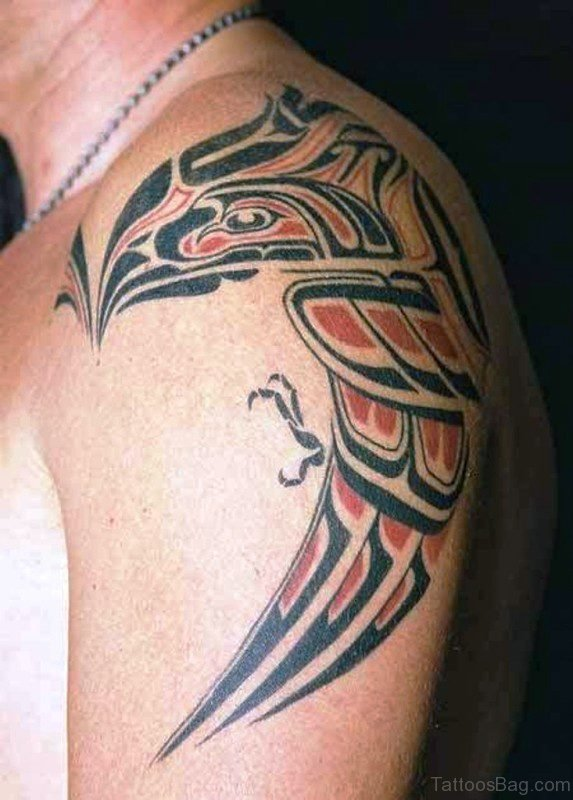Red And Black Tribal Eagle Tattoo