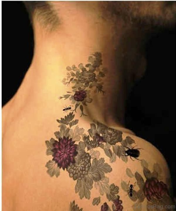 Red And Light Black Flower Tattoo