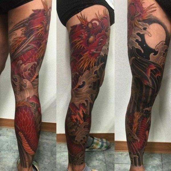 Red Asian Dragon Tattoo
