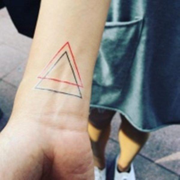 Red Blue Triangle Tattoo On Wrist