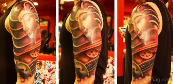 Red Buddha Tattoo Design On Sleeve