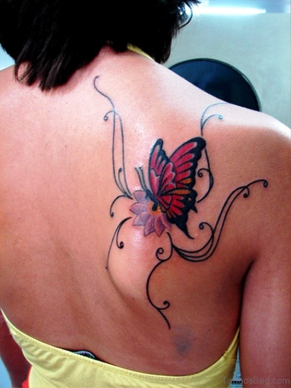 Red Butterfly Designer Tattoo