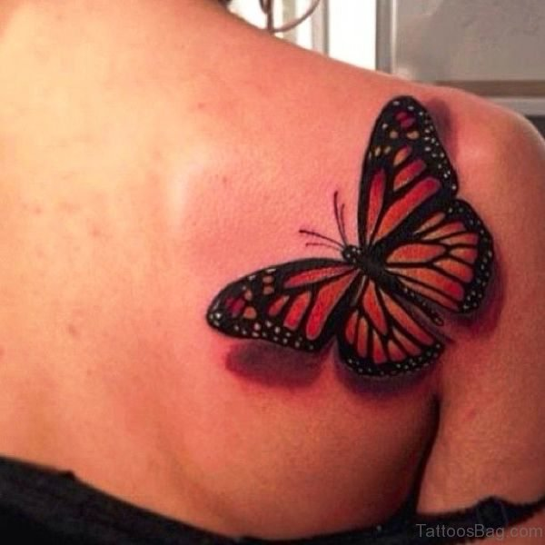 Red Butterfly Tattoo On Shoulder Back