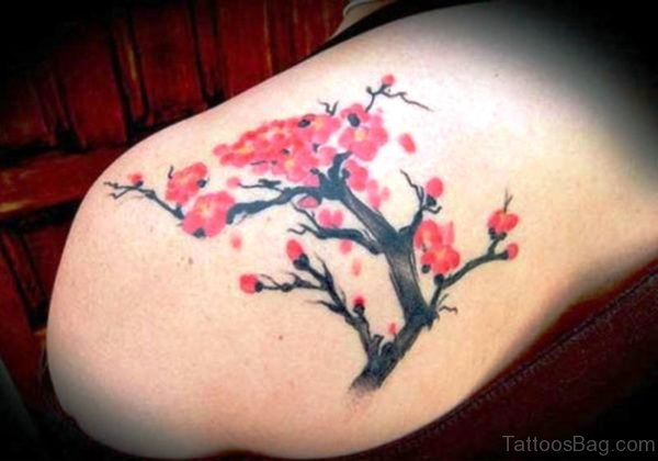 Red Cherry Blossom Flower Designer Tattoo