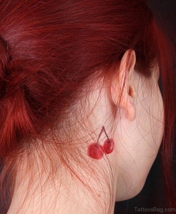 Red Cherry Neck Tattoo