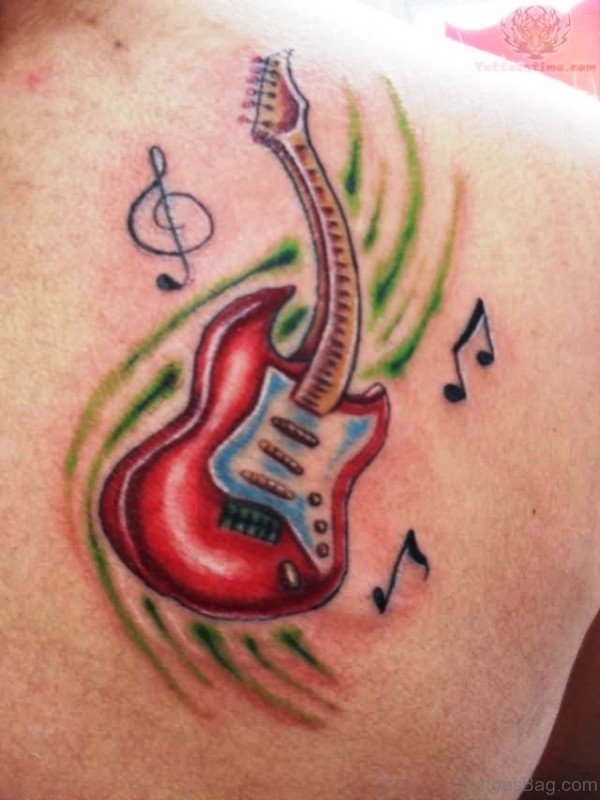 Red Color Guitar Tattoo On Back