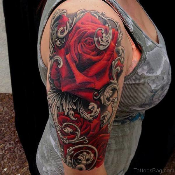 Red Colored Half Sleeves Shoulder Tattoo