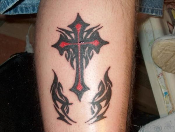Red Cross And Tribal Tattoo