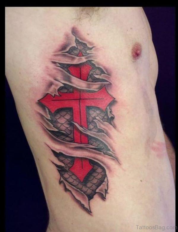 Red Cross Tattoo On Rib