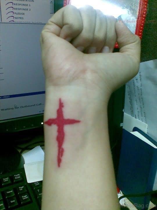 Red Cross Tattoo On Side Wrist