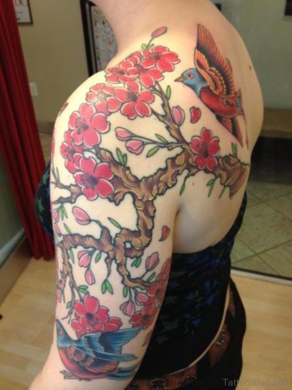 Red Designer Half Sleeves Shoulder Tattoo