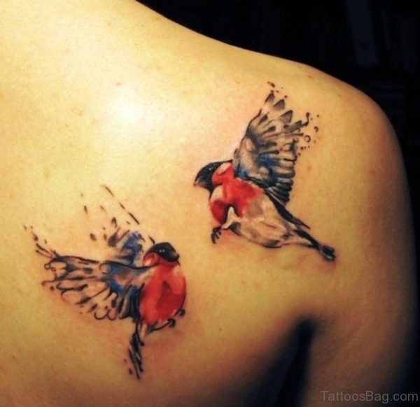 Red Dove Shoulder Tattoo