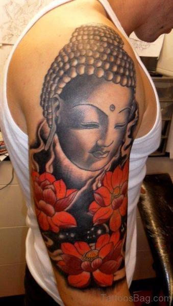 Red Flower And Buddha Tattoo