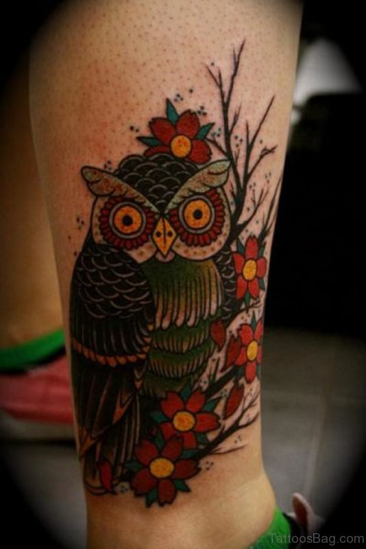 Red Flower And Owl Tattoo