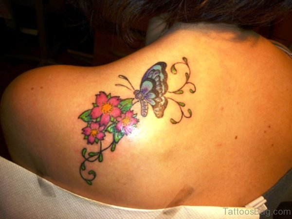 Red Flowers And Blue Butterfly