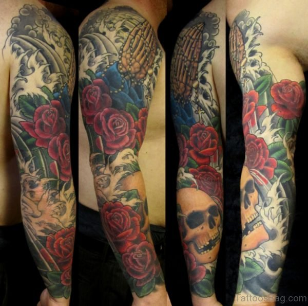 Red Flowers And Skull Tattoo