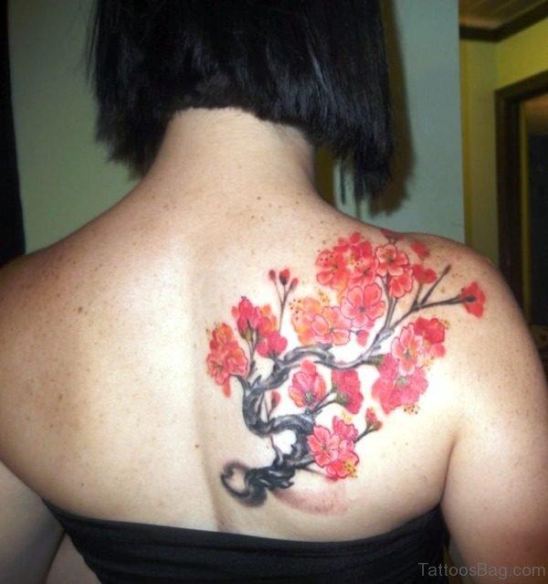 Red Flowers Tattoo On Shoulder Back