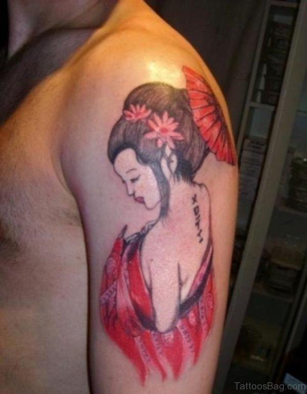 Red Geisha Girl Tattoo On Back Shoulder