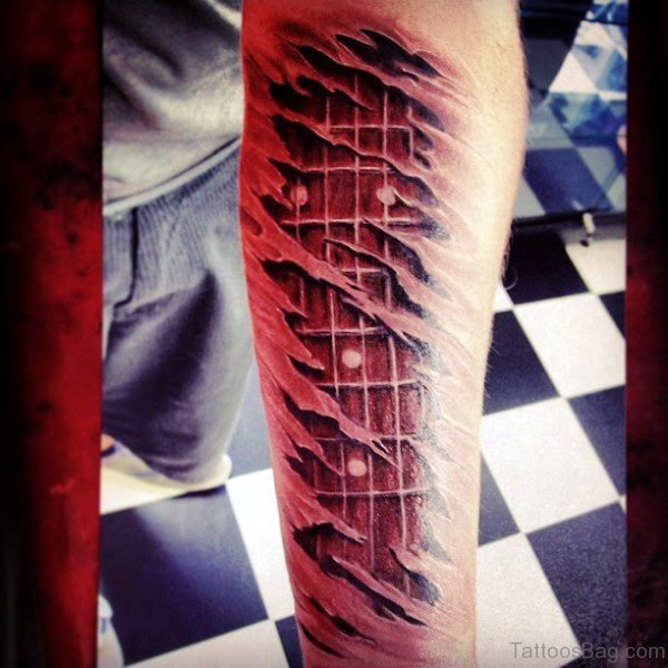 Red Guitar Tattoo On Forearm