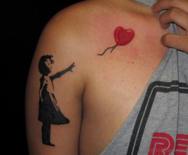 Red Heart Tattoo On Chest