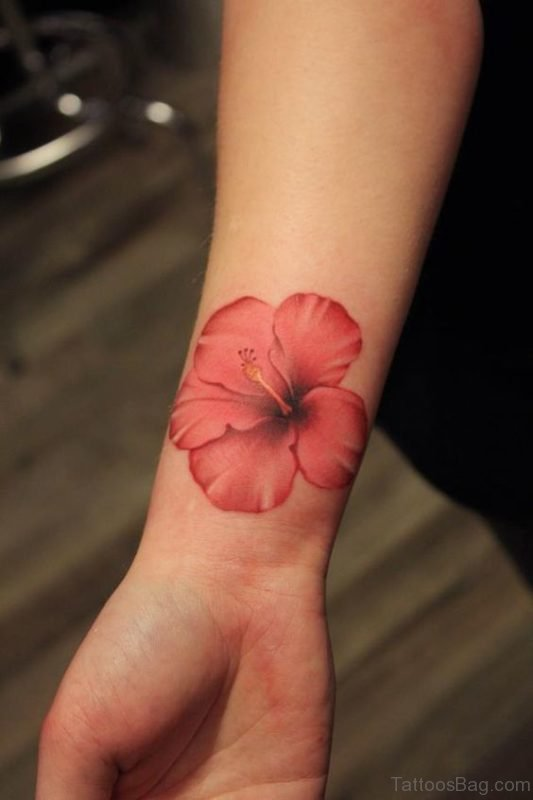 Red Hibiscus Wrist Tattoo