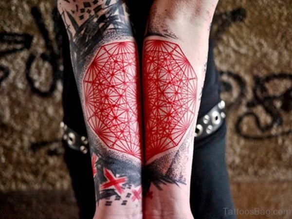 Red Ink Mandala Tattoo