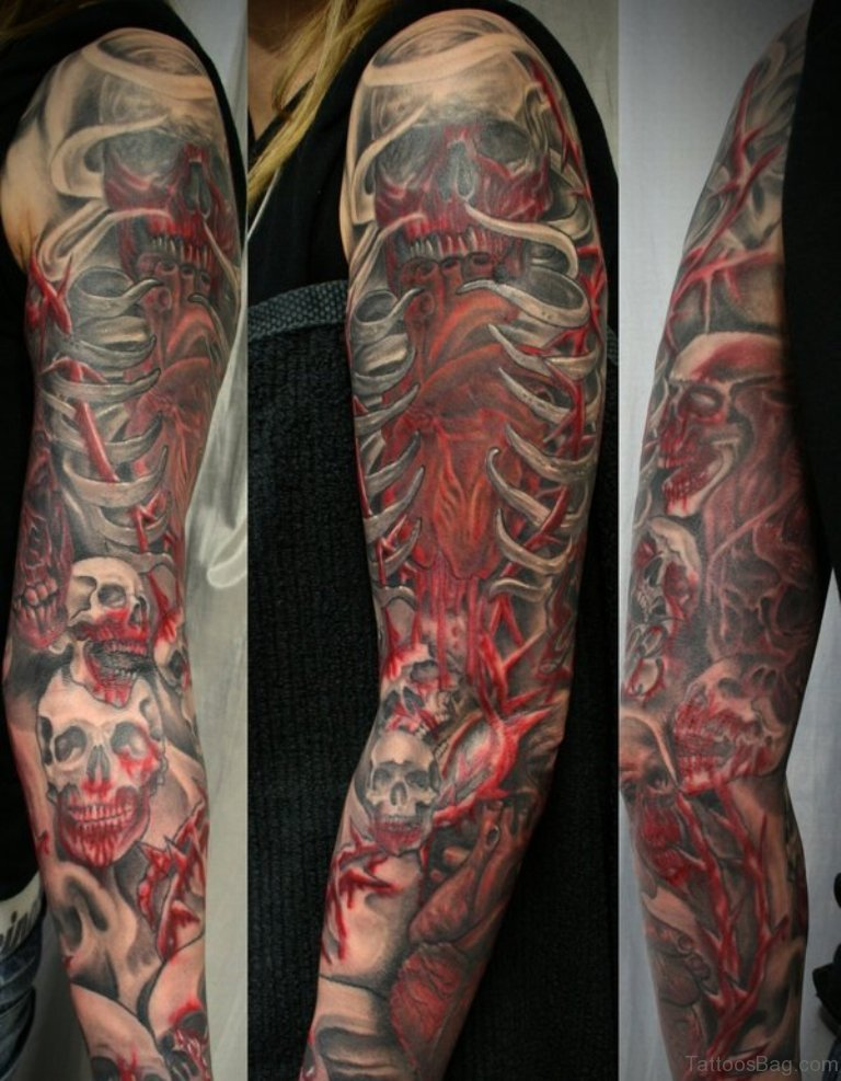 67 classic skull tattoos for full sleeve for Red ink tattoos