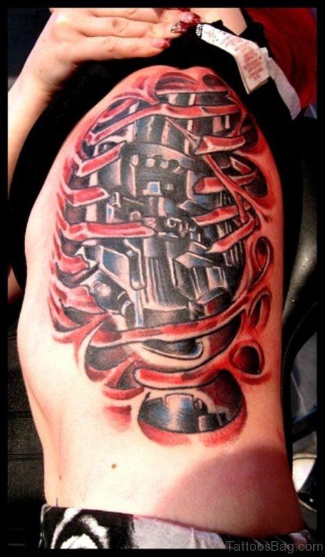 Red Inked Biomechanical Tattoo