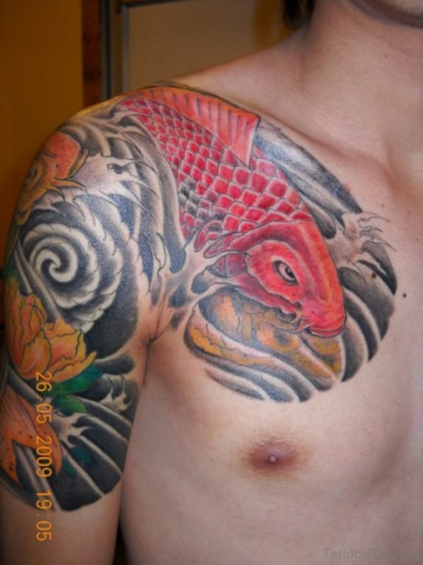 Red Koi Fish Tattoo Chest