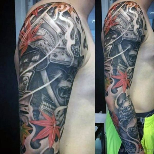 Red Leaf And Warrior Tattoo