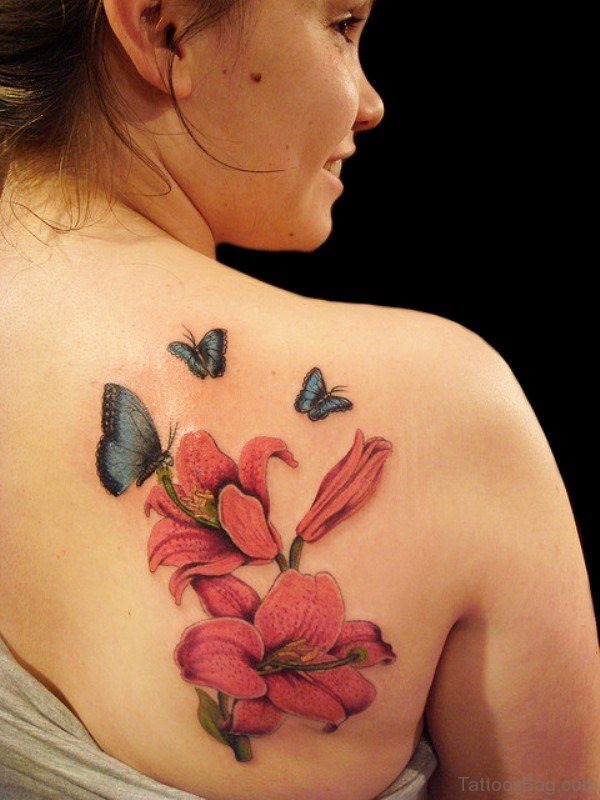 Red Lily Shoulder Tattoo For Women