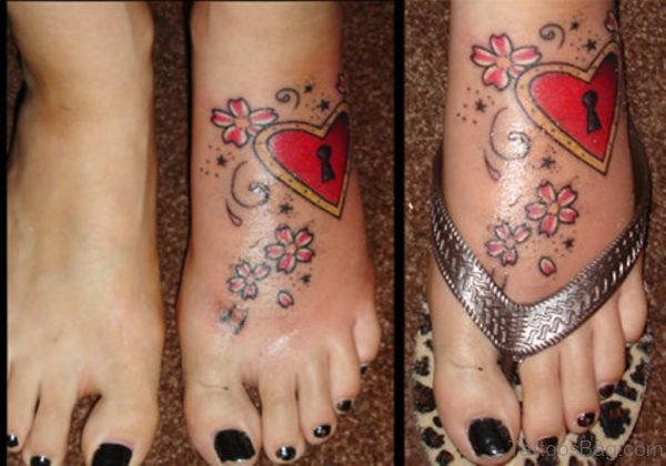 Red Lock And Heart Tattoo