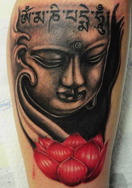 Red Lotus And Buddha Tattoo