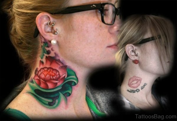 Red Lotus Flower Tattoo On Right Neck