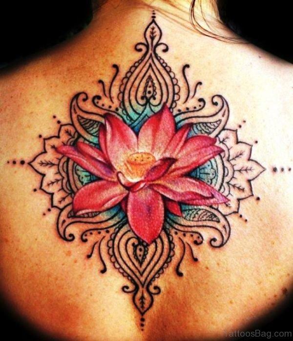 Red Lotus Neck Tattoo