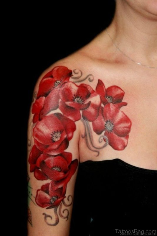 Red Magnolia Tattoo On Shoulder