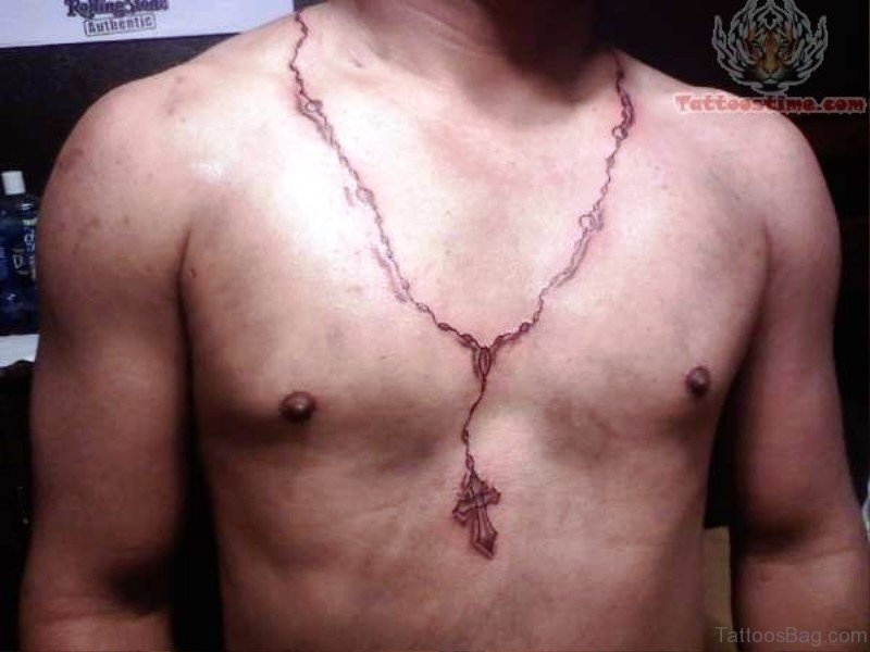 3fd774354 Red Rosary Tattoo On Neck To Chest