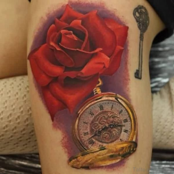 Red Rose And Clock Tattoo