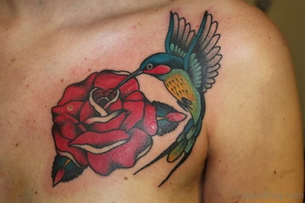 Red Rose And Colored Hummingbird Tattoo On Chest