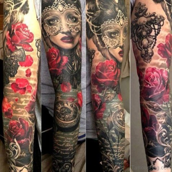 Red Rose And Girl Face Tattoo