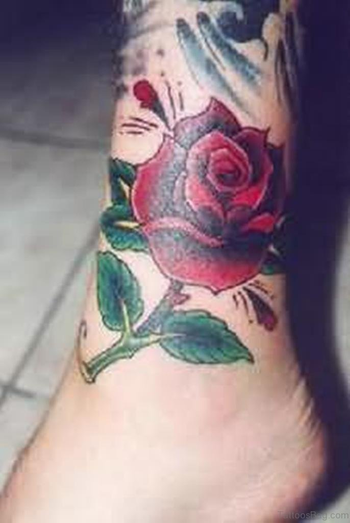 41good Looking Rose Tattoos For Ankle