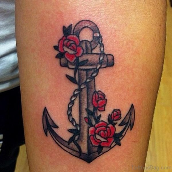 Red Rose Flower And Anchor Tattoo