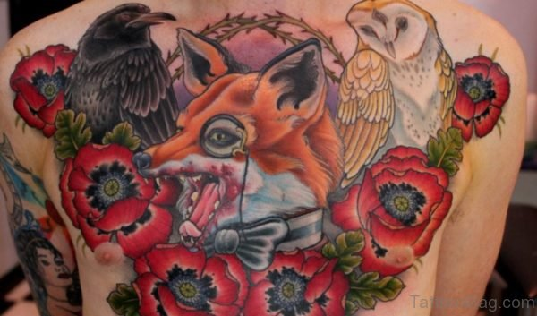 Red Rose Flowers and Fox Head Tattoo On chest